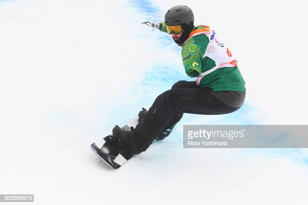 Sean Pollard of Australia competes in the Snowboard Men's Banked Slalom SBUL Run 2 on day seven of the PyeongChang 2018 Paralympic Games on March 16...