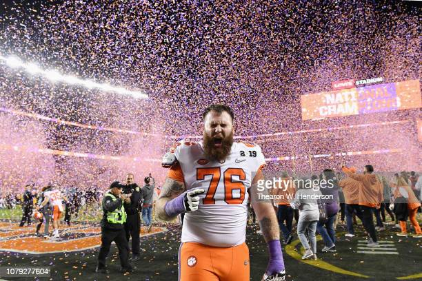 Sean Pollard of the Clemson Tigers celebrate his teams 4416 win over the Alabama Crimson Tidein the CFP National Championship presented by ATT at...