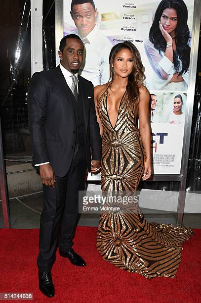 Sean 'Puff Daddy' Combs and actress Cassie Ventura attend the premiere of Lionsgate's 'The Perfect Match' at ArcLight Hollywood on March 7, 2016 in...