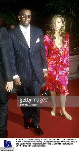Sean Puffy Combs and Jennifer Lopez attend the Arista Records PreGrammy Celebration for the year 2000 held at the Beverly Hills Hotel in Beverly...