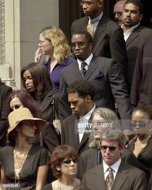 Sean Puffy Combs at Aaliyah's funeral