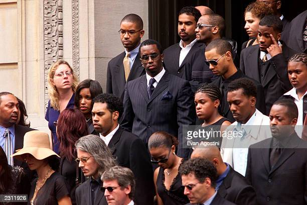 Sean 'Puffy' Combs leaving R B singer Aaliyah's memorial service at St Ignatius Loyola Roman Catholic Church in New York City 8/31/2001 Photo Evan...