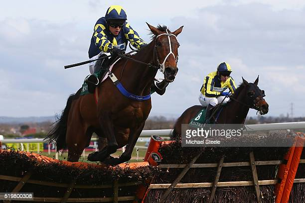 Sean Quinlan riding Party Rock clears the last to win the Alder Hey Children's Charity Handicap hurdle race at Aintree Racecourse on April 8 2016 in...