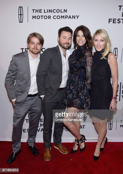 Sean Rappleyea Ross Kohn Courtney Henggeler and Linda Rizk attend the Literally Right Before Aaron Premiere during 2017 Tribeca Film Festival at SVA...