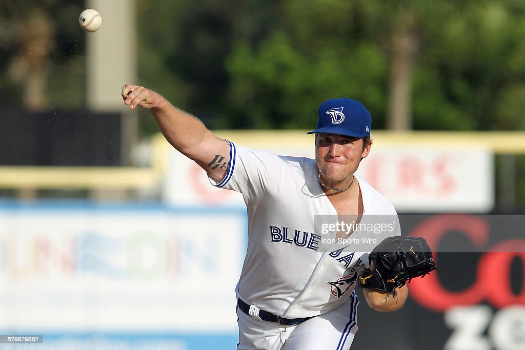 Sean Reid-Foley of the Blue Jays during the Florida State League game between the Brevard County Manatees and the Dunedin Blue Jays at Florida Auto Exchange Stadium in Dunedin, Florida.