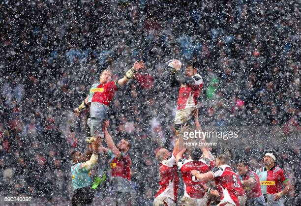Sean Reidy of Ulster and Renaldo Bothma of Harlequins jump for a lineout ball during the European Rugby Champions Cup match between Harlequins and...