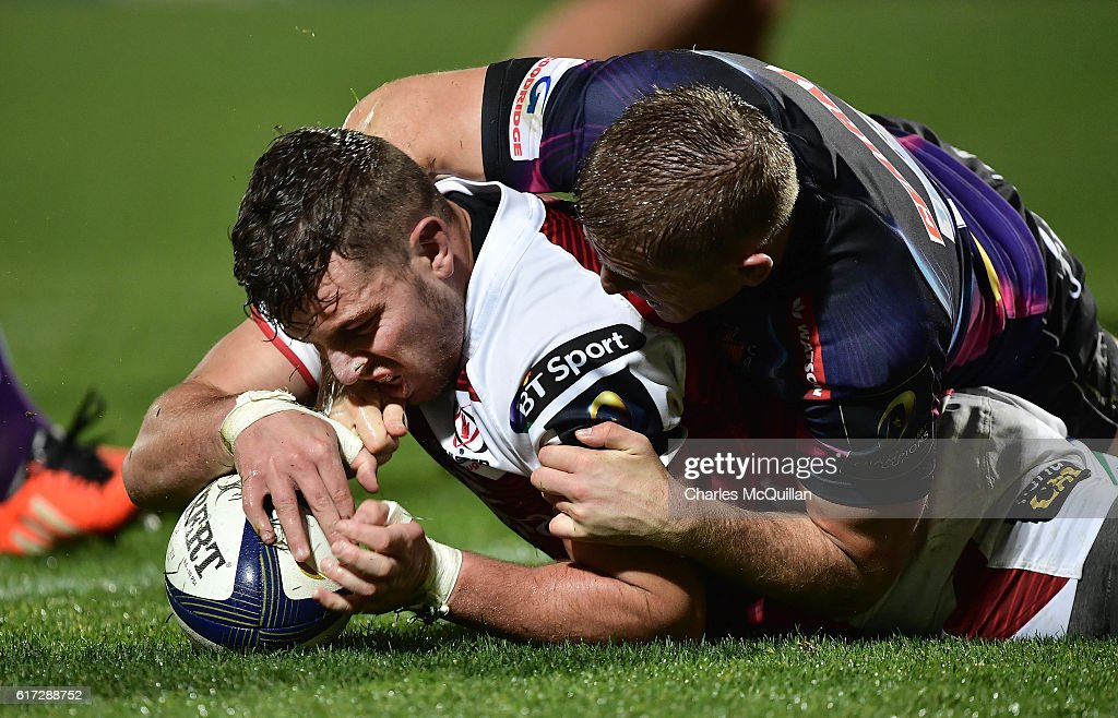 Sean Reidy of Ulster scores a try during the Champions Cup Pool 5 game between Ulster Rugby and Exeter Chiefs at Kingspan Stadium on October 22, 2016 in Belfast, Northern Ireland.