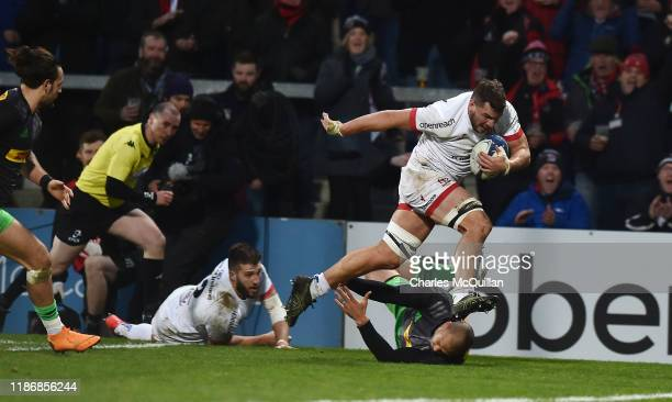 Sean Reidy of Ulster scores a try during the Heineken Champions Cup Round 3 match between Ulster Rugby and Harlequins at Ravenhill Stadium on...