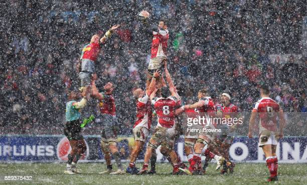 Sean Reidy of Ulster wins a lineout during the European Rugby Champions Cup match between Harlequins and Ulster Rugby at Twickenham Stoop on December...