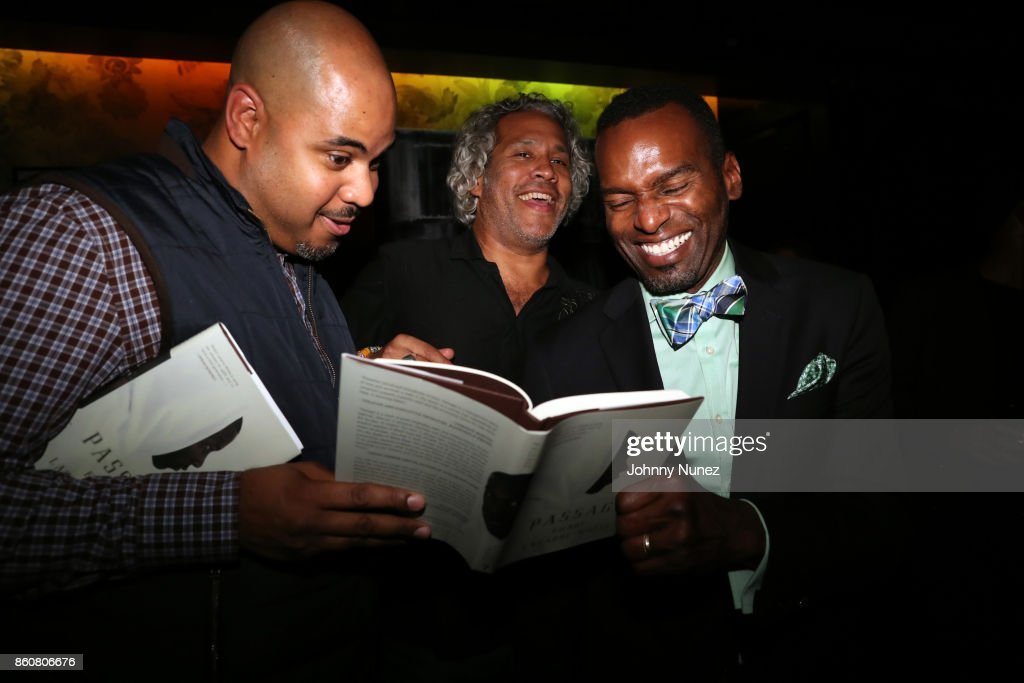 Sean Robertson, Khary Lazarre-White, and Rahsan Lindsay attend the Khary Lazarre White 'Passage' Book Release Party at Beautique on October 12, 2017 in New York City.