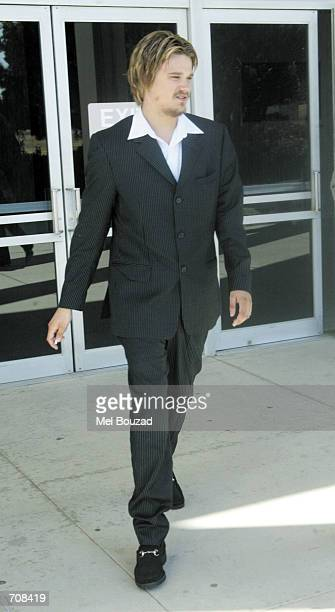 Sean Rodrick Stewart the son of musician Rod Stewart exits the Malibu Courthouse after appearing in court for a preliminary hearing on assault...