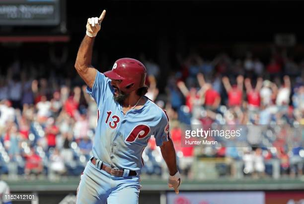 Sean Rodriguez of the Philadelphia Phillies celebrates after Jean Segura hit a threerun game winning walkoff home run in the ninth inning during a...