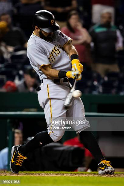 Sean Rodriguez of the Pittsburgh Pirates flies out to end the ninth inning against the Washington Nationals at Nationals Park on May 1 2018 in...