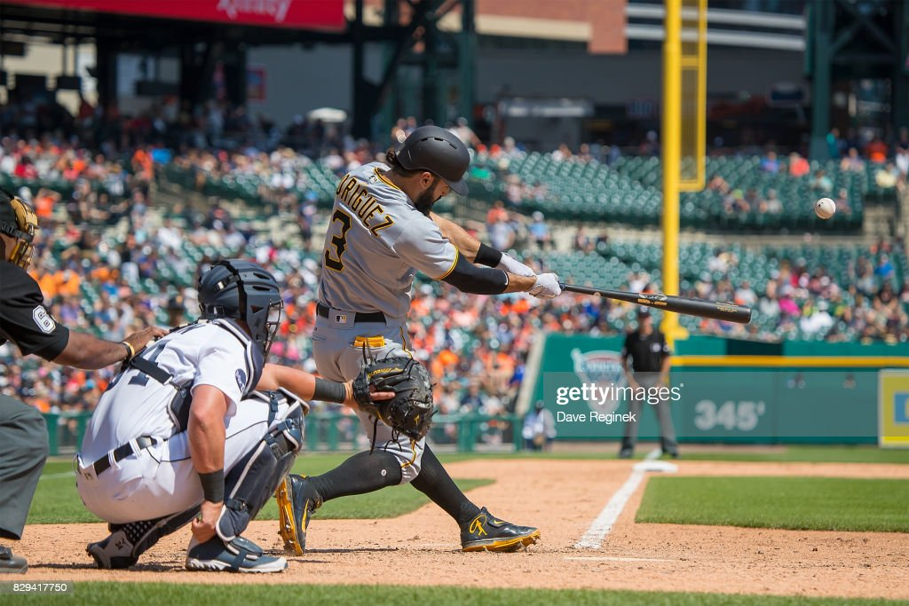 Sean Rodriguez #3 of the Pittsburgh Pirates hits a solo home run in the eighth inning against the Detroit Tigers during a MLB game at Comerica Park on August 10, 2017 in Detroit, Michigan. The Pirates defeated the Tigers 7-5.
