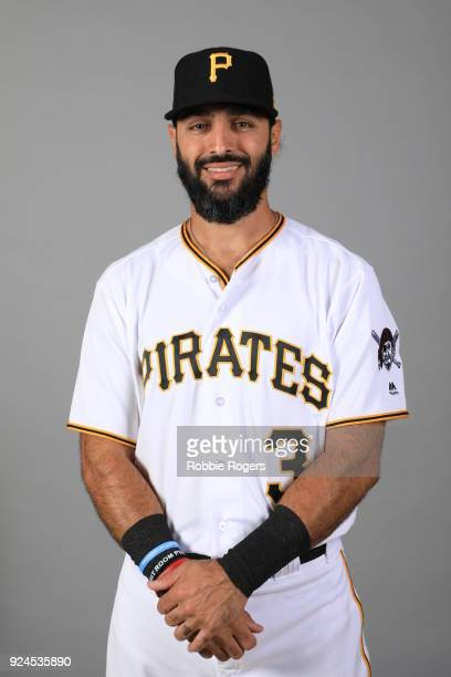 Sean Rodriguez of the Pittsburgh Pirates poses during Photo Day on Wednesday February 21 2018 at LECOM Park in Bradenton Florida
