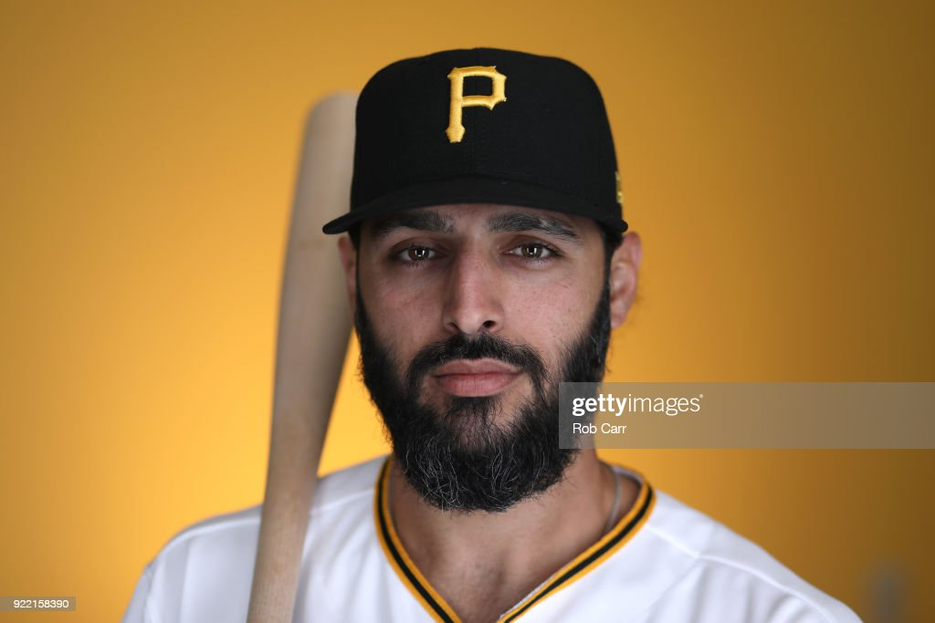 Sean Rodriguez #3 of the Pittsburgh Pirates poses for a photo during photo days on February 21, 2018 at LECOM Park in Bradenton, Florida.