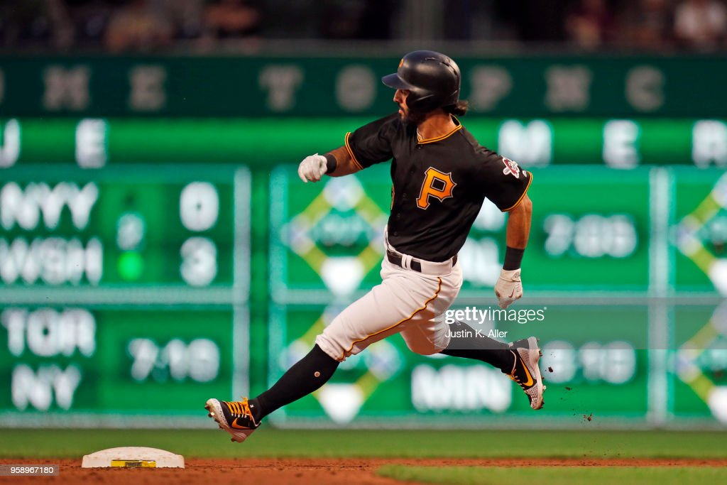 Sean Rodriguez #3 of the Pittsburgh Pirates rounds second base on his way to a triple that scored a run in the second inning against the Chicago White Sox during inter-league play at PNC Park on May 15, 2018 in Pittsburgh, Pennsylvania.