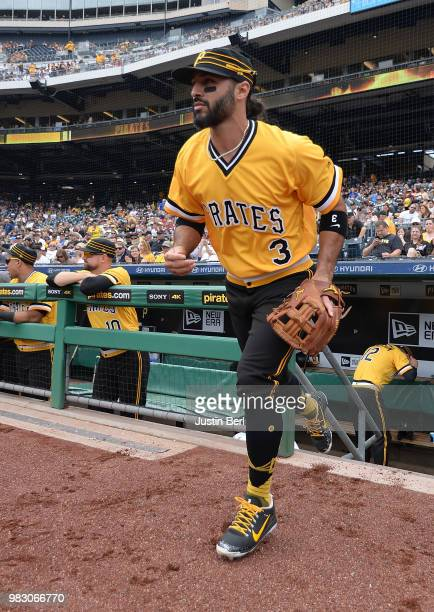 Sean Rodriguez of the Pittsburgh Pirates takes the field in the first inning during the game against the Arizona Diamondbacks at PNC Park on June 24...