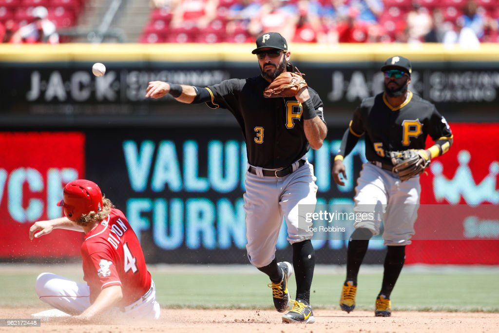 Sean Rodriguez #3 of the Pittsburgh Pirates turns a double play over Brandon Dixon #4 of the Cincinnati Reds in the fourth inning at Great American Ball Park on May 24, 2018 in Cincinnati, Ohio. The Reds won 5-4.