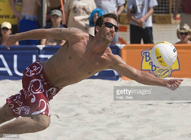 Sean Rosenthal digs the ball during men's main draw against Ty Loomis and Hans Stolfus in the AVP Seaside Heights Open at Seaside Heights Beach on...