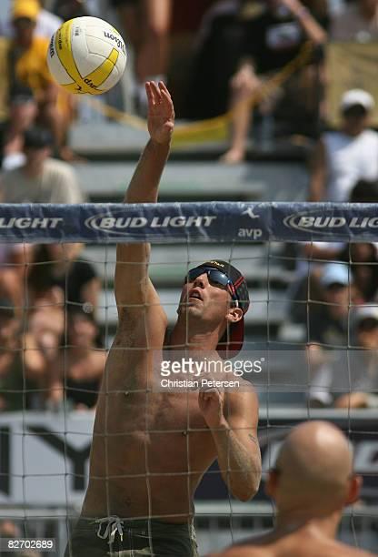 Sean Rosenthal hits the ball in the AVP Santa Barbara Open semi final match on September 7, 2008 in Santa Barbara, California. Phil Dalhausser and...