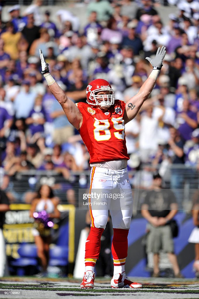 Sean Ryan #89 of the Kansas City Chiefs celebrates his touchdown against the Baltimore Ravens at M&T Bank Stadium on September 13, 2009 in Baltimore, Maryland. The Ravens defeated the Chiefs 38-24.