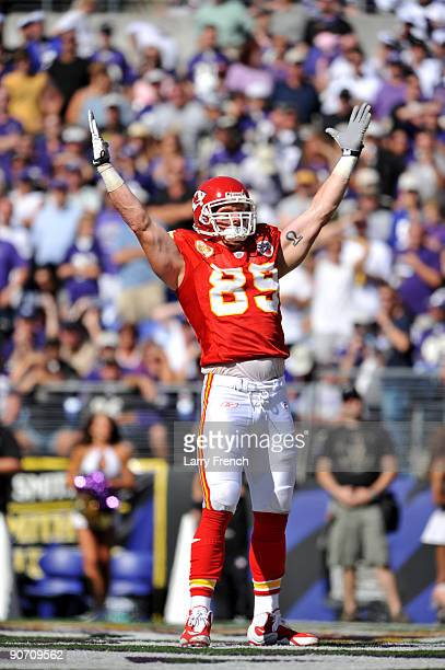 Sean Ryan of the Kansas City Chiefs celebrates his touchdown against the Baltimore Ravens at M&T Bank Stadium on September 13, 2009 in Baltimore,...