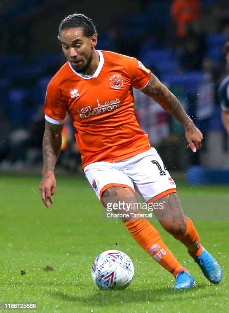 Sean Scannell of Blackpool FC runs with the ball during the Sky Bet Leauge One match between Bolton Wanderers and Blackpool at University of Bolton...