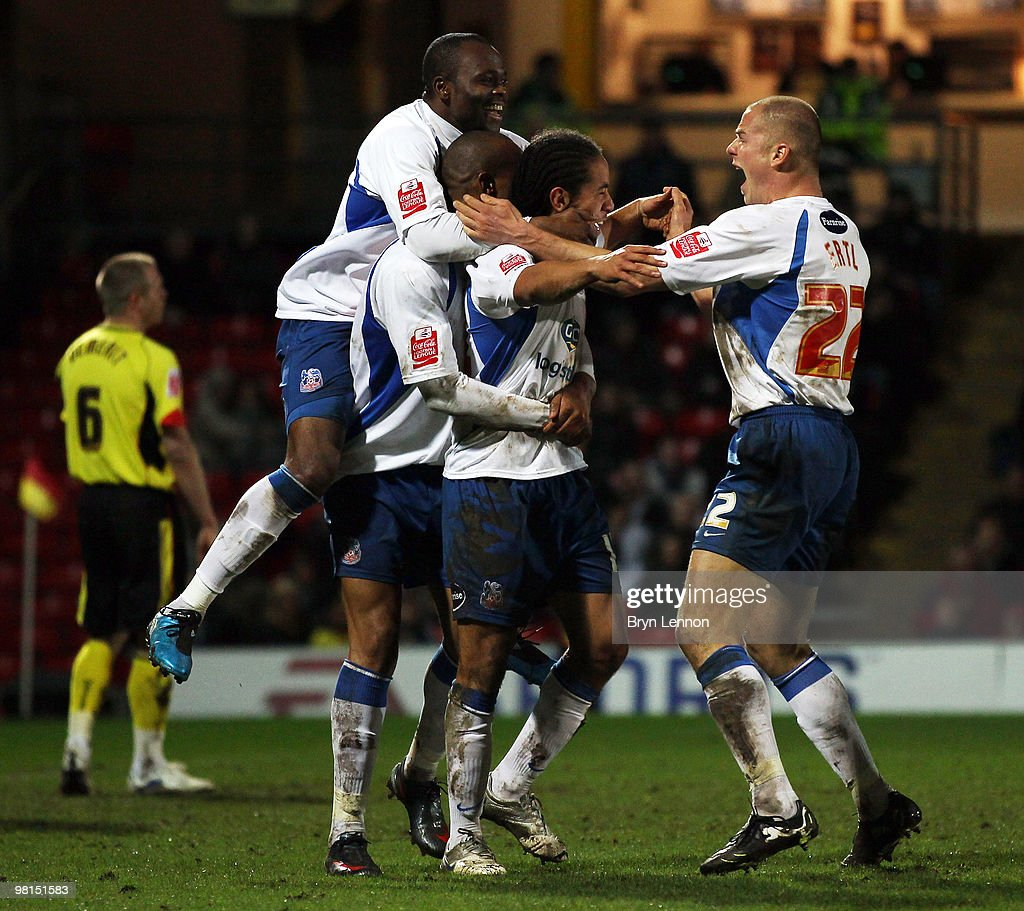 Sean Scannell of Crystal Palace celebrates with his team after scoring after during the Coca-Cola Football League Championship match between Watford and Crystal Palace at Vicarage Road on March 30, 2010 in London, England.