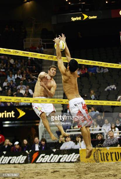 Sean Scott and Anthony Medel in action during the AVP Hot Winter Nights tour at the Sprint Center in Kansas City, MO on January 12, 2008.