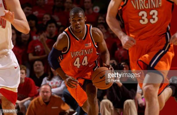 Sean Singletary of the Virginia Cavaliers brings the ball up the court against the Maryland Terrapins February 6 2007 at Comcast Center in College...