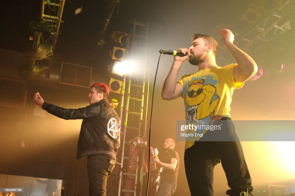 Sean Smith and Gavin Butler of Blackout perform on stage at the Electric Ballroom on January 25, 2013 in London, England.