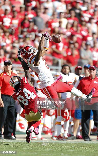 Sean Smith of the Kansas City Chiefs breaks up a pass to Brandon Lloyd of the San Francisco 49ers during the game at Levi Stadium on October 5 2014...