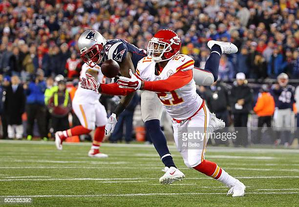 Sean Smith of the Kansas City Chiefs defends a pass against Brandon LaFell of the New England Patriots in the first half during the AFC Divisional...