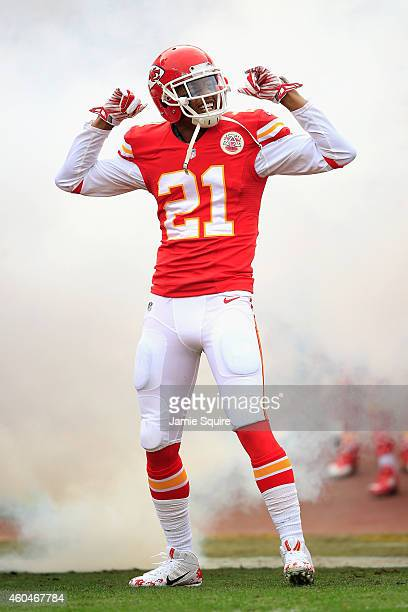 Sean Smith of the Kansas City Chiefs gestures during player introductions before the game against the Oakland Raiders at Arrowhead Stadium on...