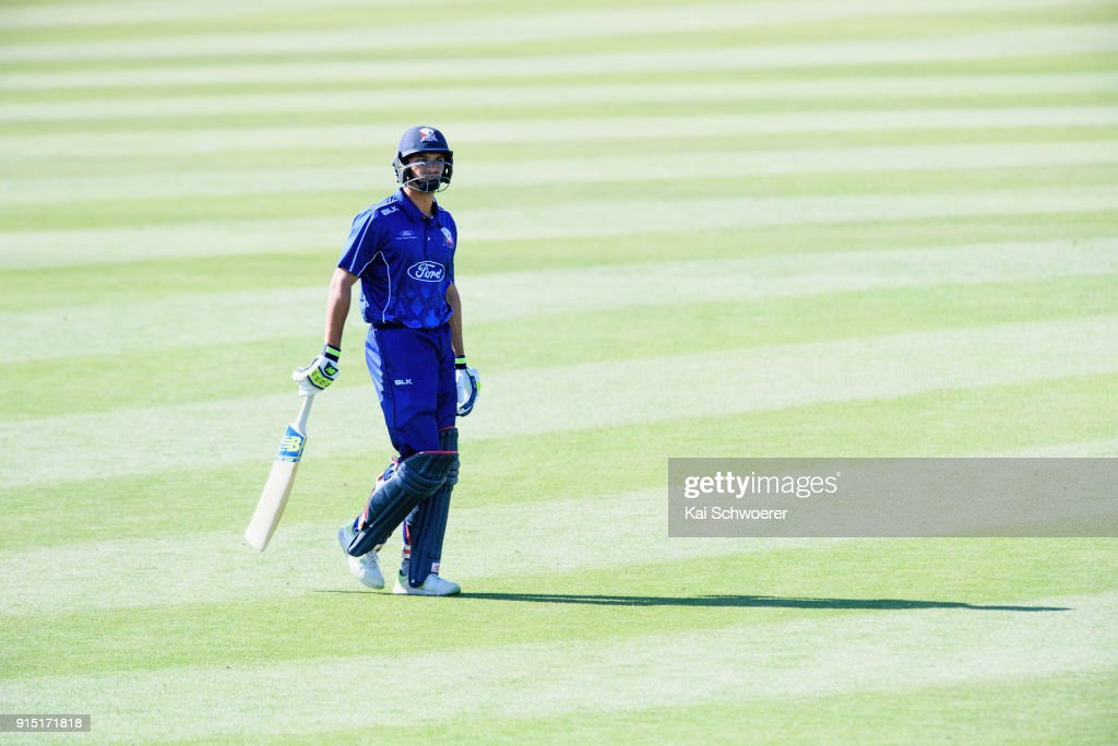 Sean Solia of the Auckland Aces looks dejected after being dismissed by Tim Johnston of Canterbury during the One Day Ford Trophy Cup match between Canterbury and Auckland on February 7, 2018 in Christchurch, New Zealand.