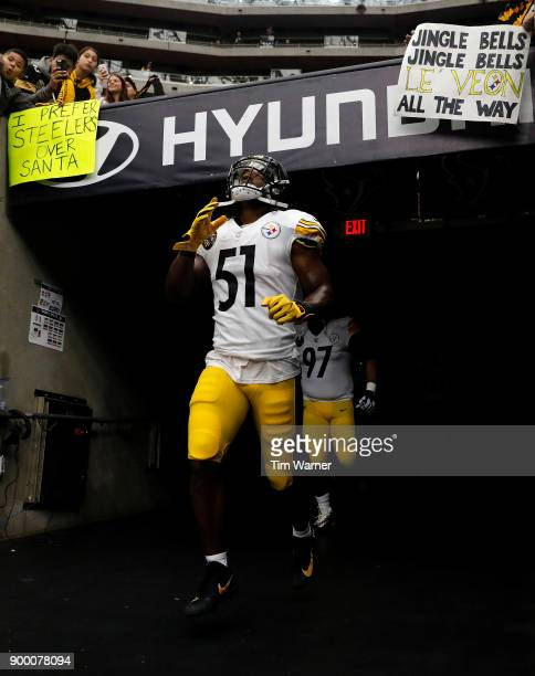 Sean Spence of the Pittsburgh Steelers runs out of the tunnel before the game against the Houston Texans at NRG Stadium on December 25 2017 in...