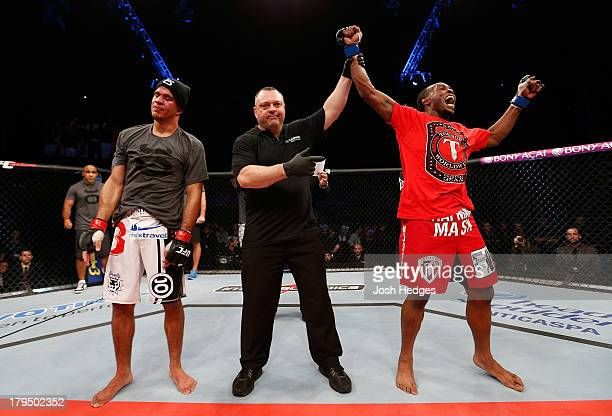 Sean Spencer reacts after defeating Yuri Villefort in the welterweight fight during the UFC on FOX Sports 1 event at Mineirinho Arena on September 4...