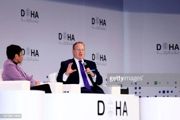 Sean Spicer Former White House Press Secretary speaks during a session of the Doha Forum in the Qatari capital on December 15 2018 Qatar called for a...