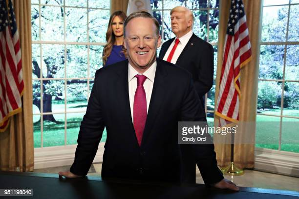 Sean Spicer reveals the first Madame Tussauds Melania Trump figure at the launch of the Give Melania A Voice Experience at Madame Tussauds on April...