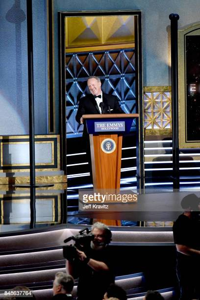 Sean Spicer speaks onstage during the 69th Annual Primetime Emmy Awards at Microsoft Theater on September 17 2017 in Los Angeles California