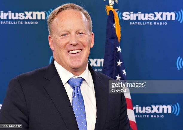 Sean Spicer talks to host David Webb during a SiriusXM Patriot Forum at the SiriusXM Studios on July 23, 2018 in New York City.