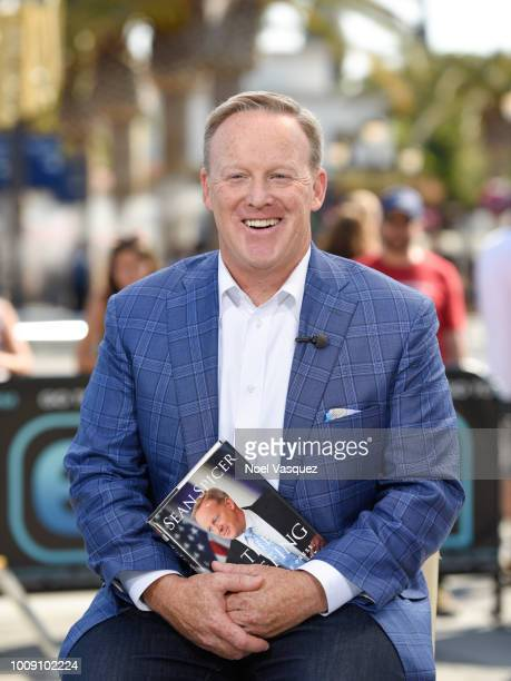 """Sean Spicer visits """"Extra"""" at Universal Studios Hollywood on August 1, 2018 in Universal City, California."""