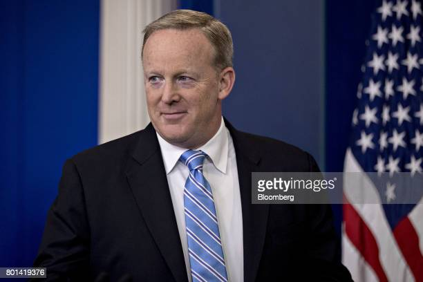 Sean Spicer White House press secretary arrives to a press briefing at the White House in Washington DC US on Monday June 26 2017 The US Supreme...