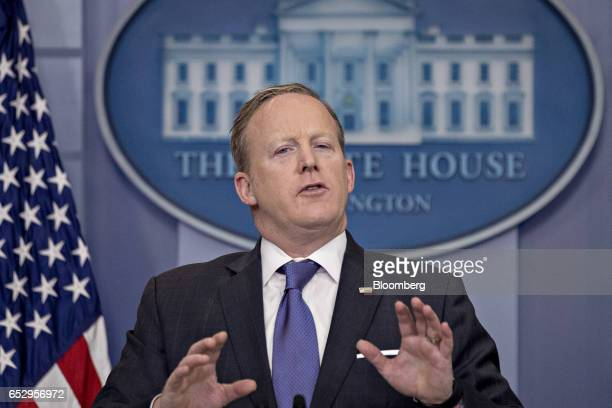 Sean Spicer White House press secretary speaks during a press briefing at the White House in Washington DC US on Monday March 13 2017 Spicer said US...
