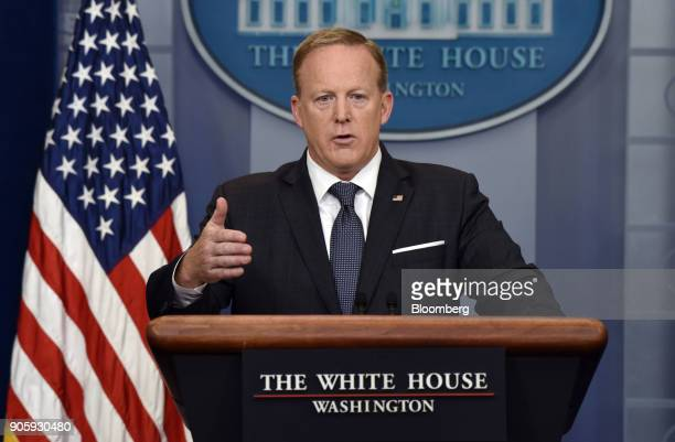 Sean Spicer White House press secretary speaks during a White House press briefing in Washington DC US on Tuesday May 30 2017 The one year...