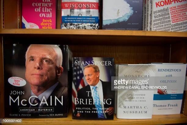 Sean Spicers' memoir 'The Briefing' is displayed on the first day of sales in a bookstore in Washington DC on July 24 2018 Sean Spicer received poor...