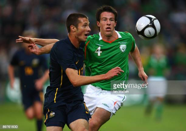 Sean St Ledger of Republic of Ireland and Nikita Rukavytsya of Australia in action during the International Friendly match between Republic of...