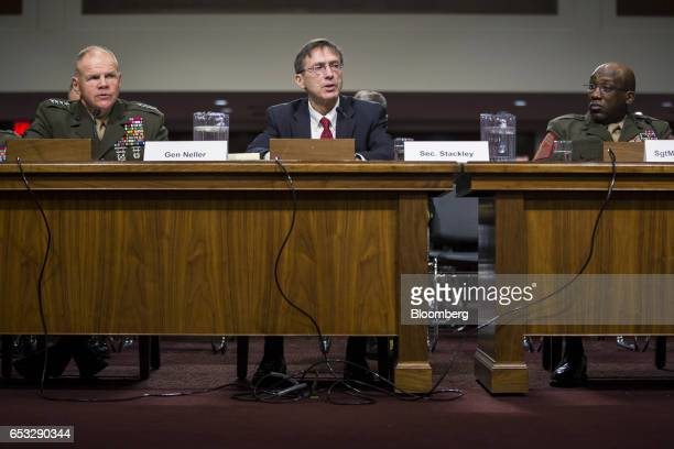 Sean Stackley acting Secretary of the Navy center testifies while General Robert Neller Commandant of the US Marine Corps left and Ronald Green...