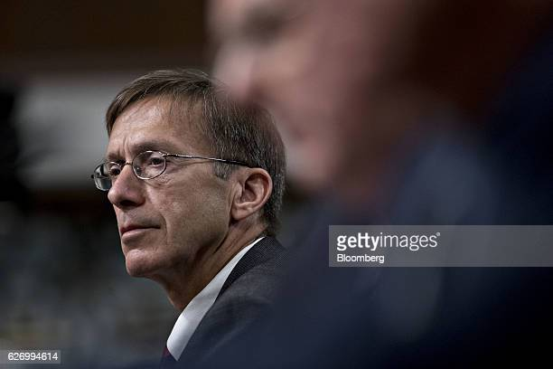 Sean Stackley assistant secretary for research development and acquisition at the Department of the Navy listens during a Senate Armed Forces...